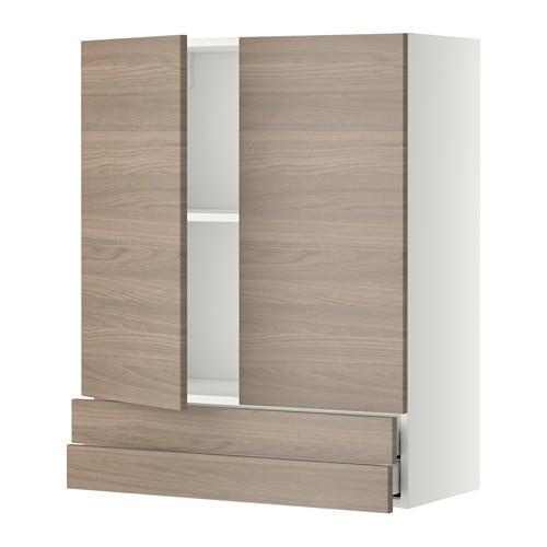 metod maximera l ment mural 2portes 2tiroirs blanc brokhult motif noyer gris clair 80x100. Black Bedroom Furniture Sets. Home Design Ideas