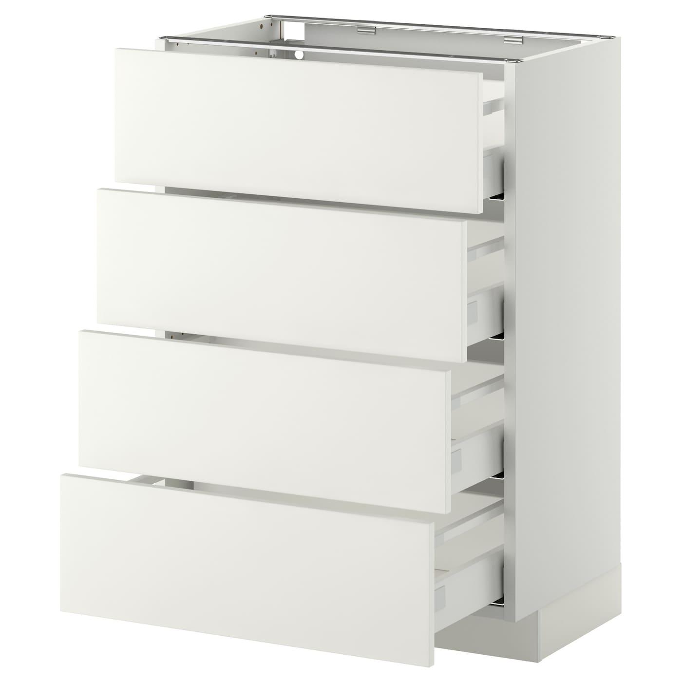 METOD / MAXIMERA Élt bas 15 faces/15 tiroirs - blanc/Häggeby blanc 15x15 cm