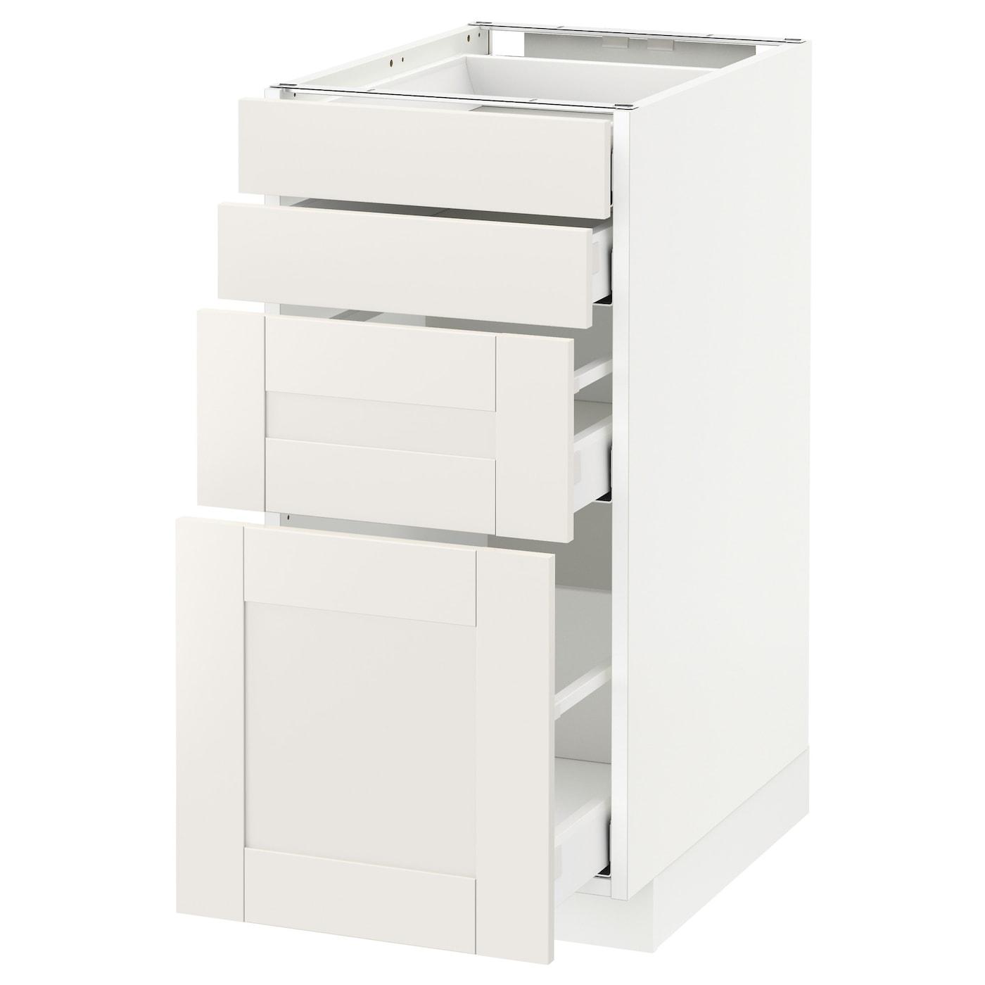 METOD / MAXIMERA Élt bas 15 faces/15 tiroirs - blanc/Sävedal blanc 150x15 cm