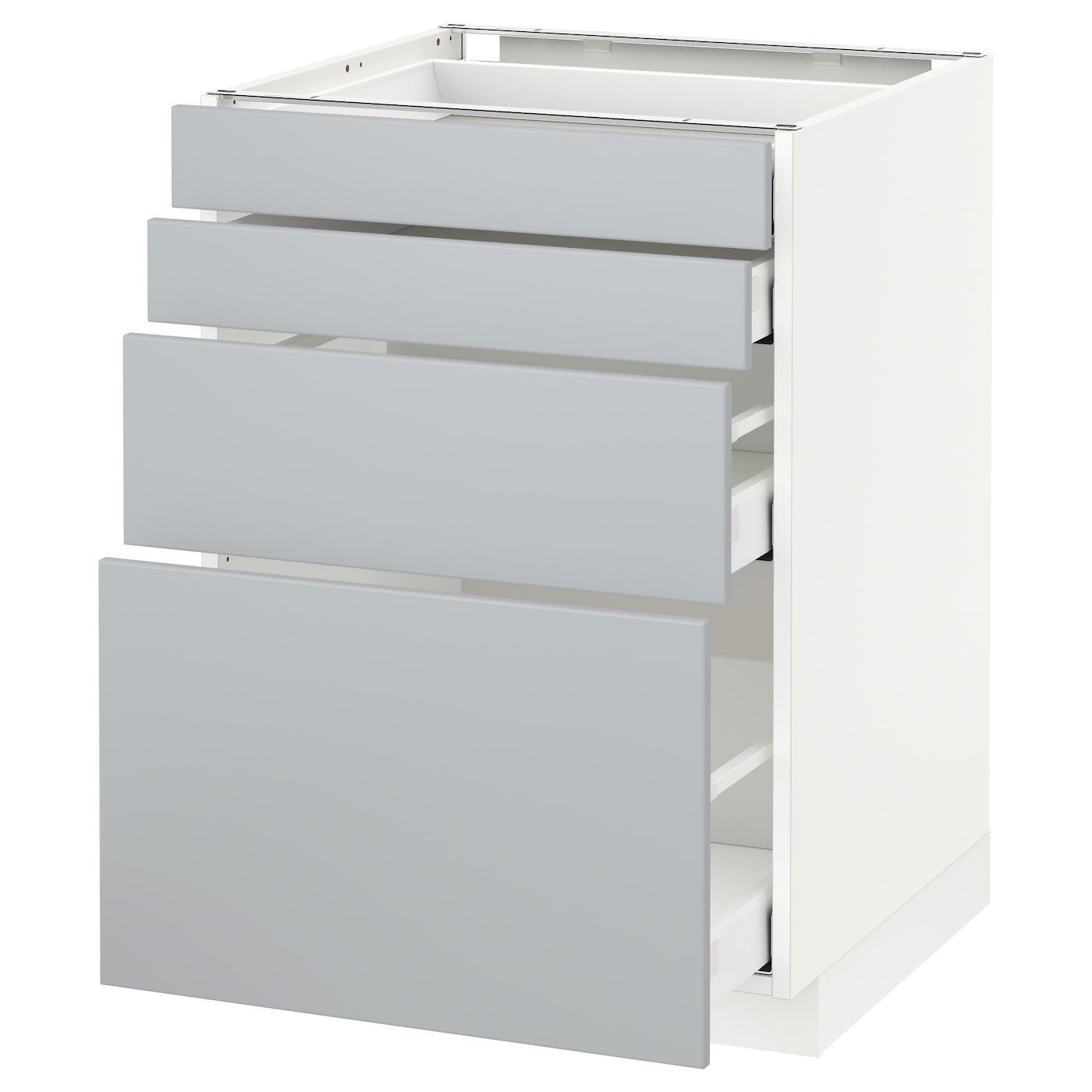 METOD / MAXIMERA Élt bas 15 faces/15 tiroirs - blanc/Veddinge gris 15x15 cm
