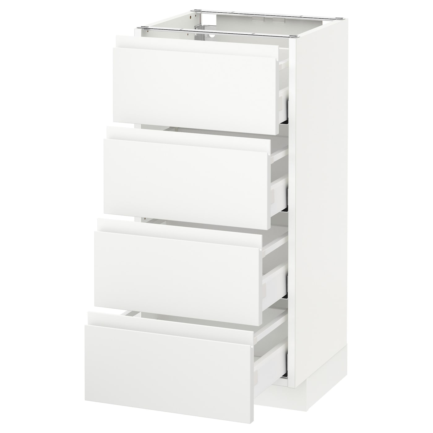 METOD / MAXIMERA Élt bas 15 faces/15 tiroirs - blanc/Voxtorp blanc mat 150x15  cm
