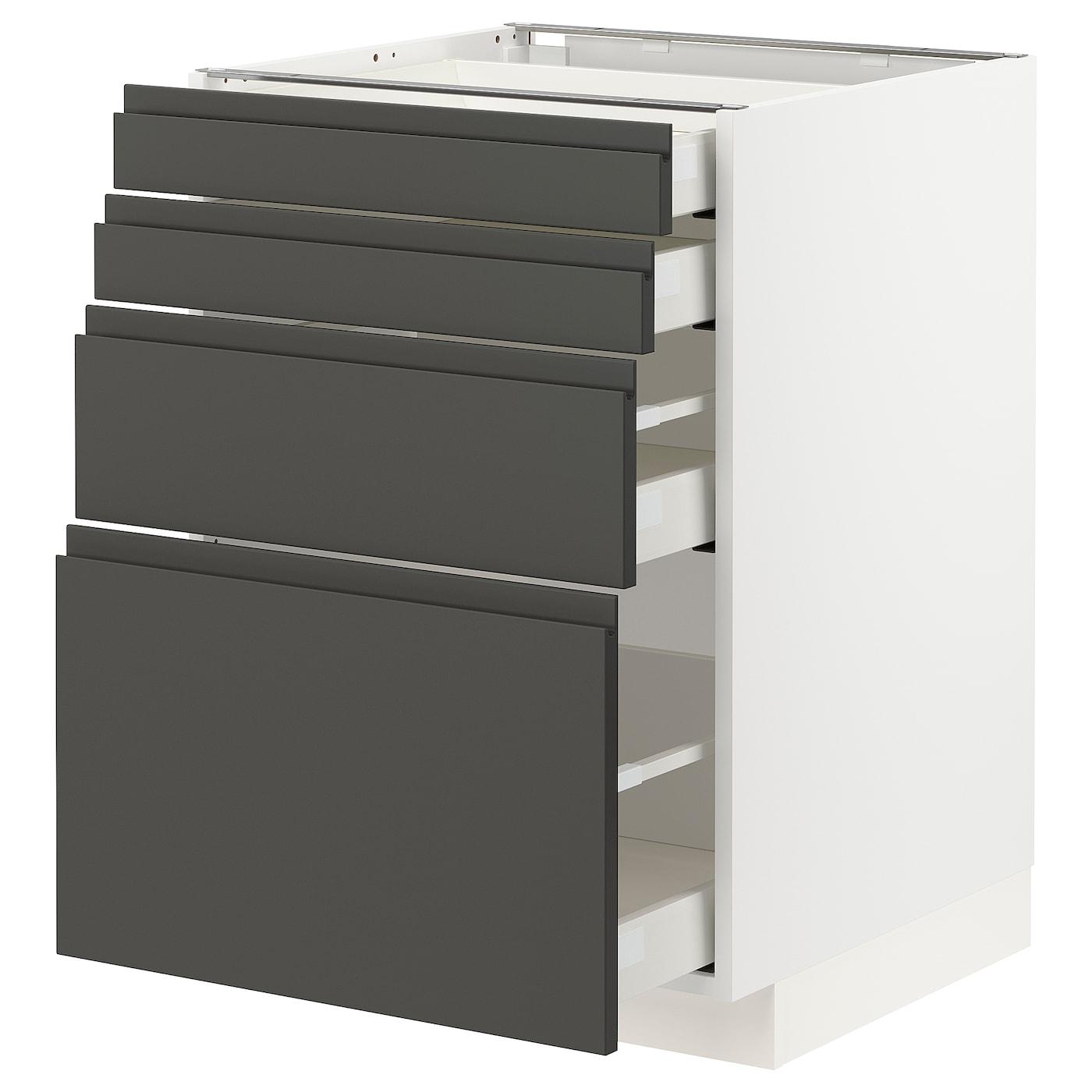 METOD / MAXIMERA Élt bas 15 faces/15 tiroirs - blanc/Voxtorp gris foncé 15x15  cm