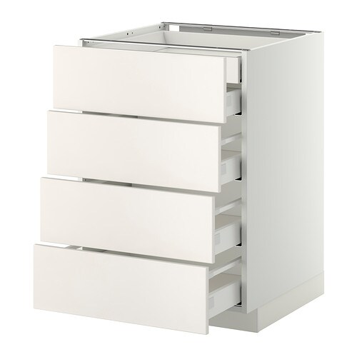 metod maximera lt bas 4faces 2tiroirs bas 3moyens blanc veddinge blanc 60x60 cm ikea. Black Bedroom Furniture Sets. Home Design Ideas