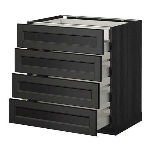metod maximera lt bas 4faces 2tiroirs bas 3moyens effet bois noir laxarby brun noir 80x60. Black Bedroom Furniture Sets. Home Design Ideas