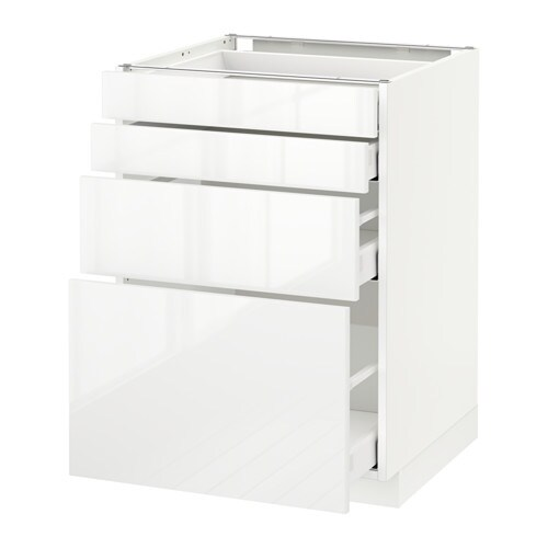 Metod maximera lt bas 4 faces 4 tiroirs blanc - Protection tiroir cuisine ...