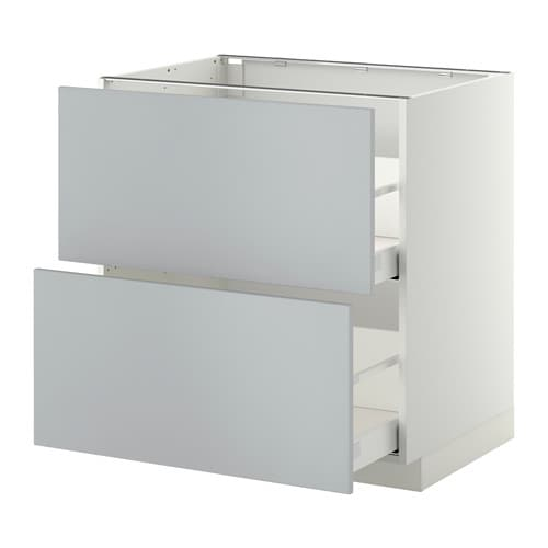 Metod Maximera Lt Bas 2 Faces 2 Tiroirs Hauts Blanc Veddinge Gris 80x60 Cm Ikea