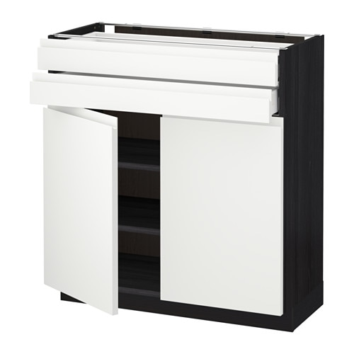 metod maximera lt bas 2 portes 2 tiroirs effet bois noir 80x37 cm voxtorp blanc ikea. Black Bedroom Furniture Sets. Home Design Ideas