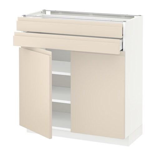 metod maximera lt bas 2 portes 2 tiroirs blanc voxtorp beige clair 80x37 cm ikea. Black Bedroom Furniture Sets. Home Design Ideas