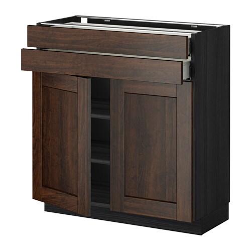 metod maximera lt bas 2 portes 2 tiroirs effet bois noir edserum effet bois brun 80x37 cm. Black Bedroom Furniture Sets. Home Design Ideas