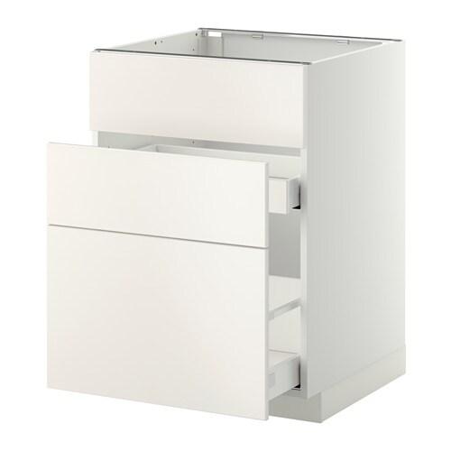 Metod maximera lt bas pr vier 3faces 2tiroirs blanc veddinge blanc 60x60 cm ikea - Ikea metod meuble bas ...