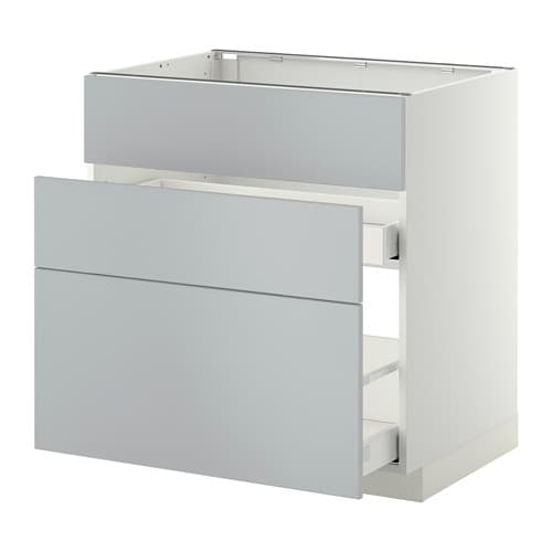Metod Maximera Lt Bas Pr Vier 3faces 2tiroirs Blanc Veddinge Gris 80x60 Cm Ikea