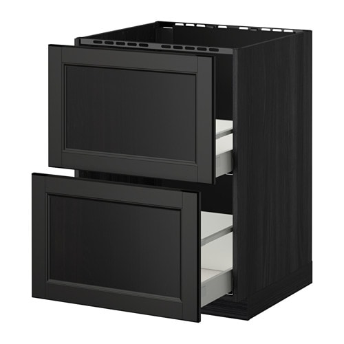 metod maximera lt bas pr vier 2faces 2tiroirs effet bois noir laxarby brun noir 60x60 cm. Black Bedroom Furniture Sets. Home Design Ideas