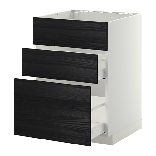 metod maximera lt bas pr vier 3faces 2tiroirs blanc tingsryd effet bois noir 60x60 cm ikea. Black Bedroom Furniture Sets. Home Design Ideas