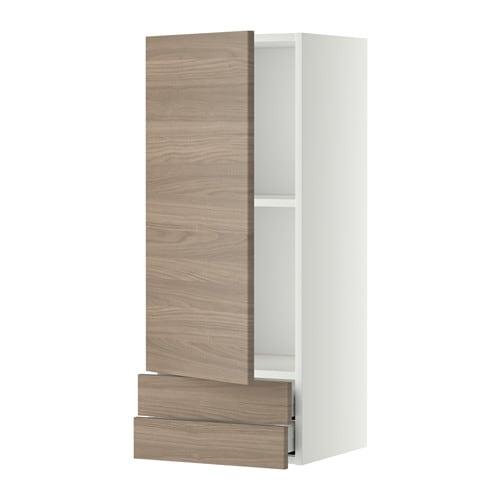 metod maximera lt mural avec porte 2tiroirs blanc brokhult motif noyer gris clair 40x100. Black Bedroom Furniture Sets. Home Design Ideas