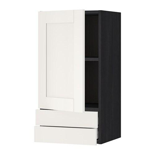 metod maximera lt mural avec porte 2tiroirs effet bois noir s vedal blanc 40x80 cm ikea. Black Bedroom Furniture Sets. Home Design Ideas