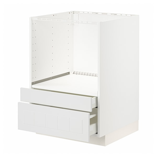 METOD / MAXIMERA Meuble pour micro combi/tiroirs, blanc/Stensund blanc, 60x60 cm