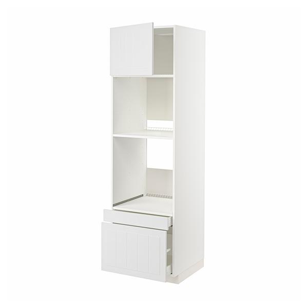 METOD / MAXIMERA Rangement four/combiné+tir/2 tir, blanc/Stensund blanc, 60x60x200 cm
