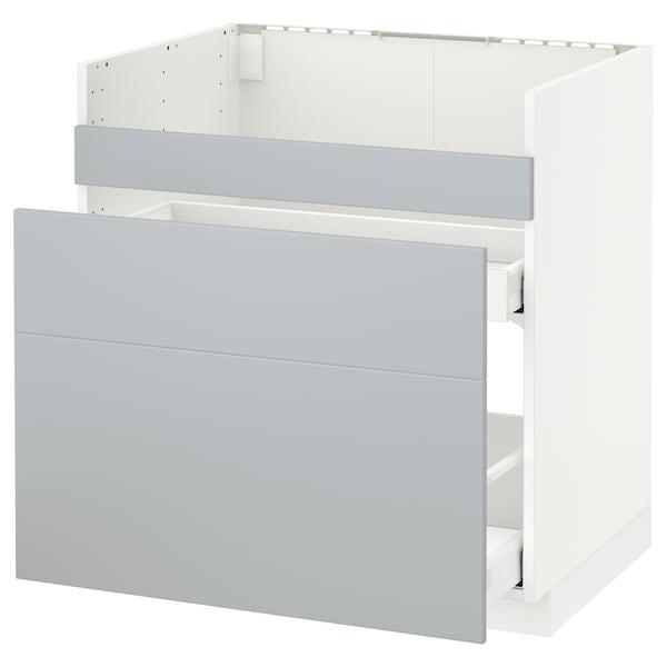 Metod Rgt Bas Pr Evier Havsen 3 Fac 2 Tir Blanc Veddinge Gris 80x60 Cm Ikea