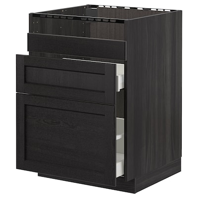 METOD Rangement bas évier HAVSEN/3fa/2tir, noir/Lerhyttan teinté noir, 60x60 cm