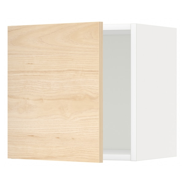 METOD Rangement mural, blanc/Askersund effet frêne clair, 40x40 cm