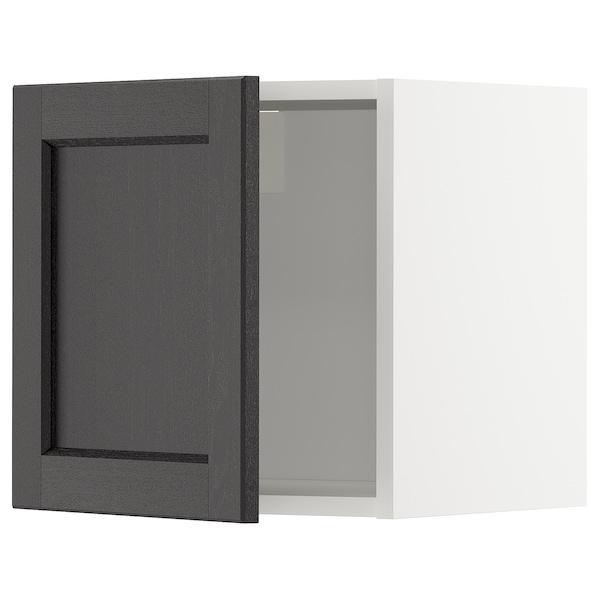 METOD Rangement mural, blanc/Lerhyttan teinté noir, 40x40 cm