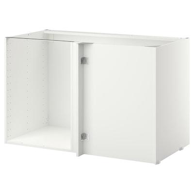 METOD Structure élément bas d'angle, blanc, 128x68x80 cm