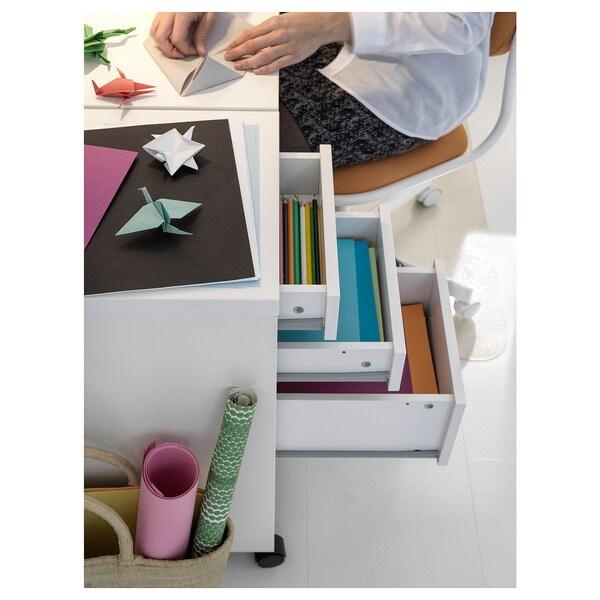 MICKE Caisson à tiroirs sur roulettes, blanc, 35x75 cm