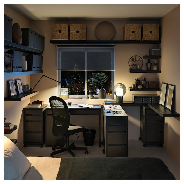 MICKE Caisson à tiroirs sur roulettes, brun noir, 35x75 cm