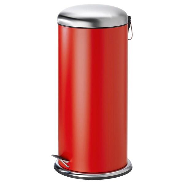 MJÖSA Poubelle à pédale, rouge, 30 l