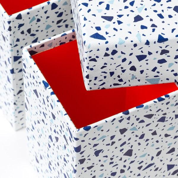 MÖJLIGHET Boîte, 3 pièces, rouge/motif mosaïque