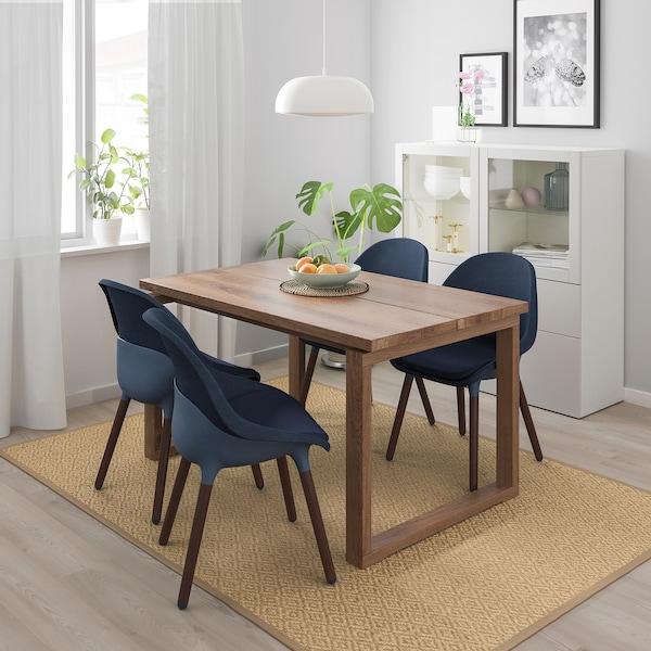 MÖRBYLÅNGA BALTSAR Table et 4 chaises plaqué chêne teinté brun, bleu noir 140x85 cm