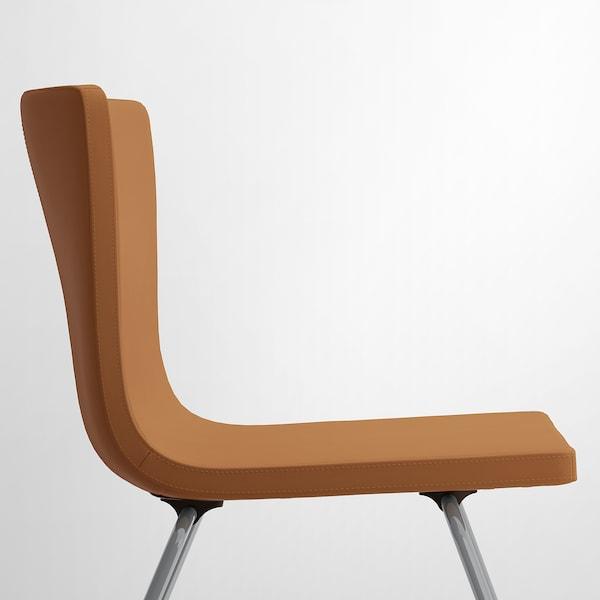 MÖRBYLÅNGA BERNHARD Table et 4 chaises plaqué chêne teinté brun, Mjuk brun doré 145 cm
