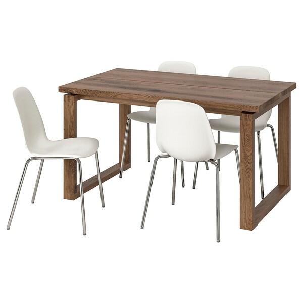 MÖRBYLÅNGA LEIFARNE Table et 4 chaises brun, blanc 140x85 cm