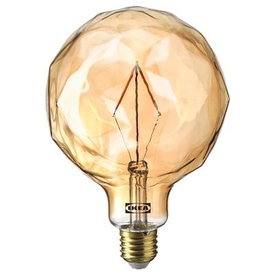MOLNART Ampoule à LED E27 120 lumens, sphérique avec verre à facettes verre transparent brun, 125 mm