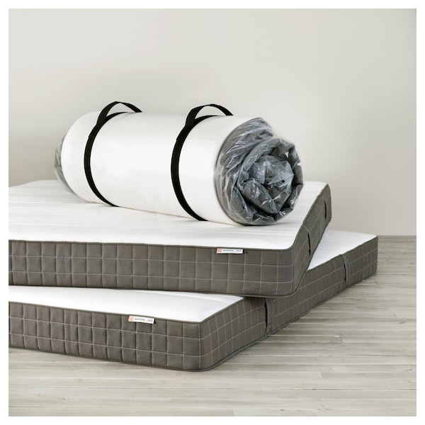 MORGEDAL Matelas latex, mi-ferme/gris foncé, 160x200 cm