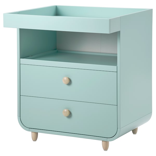 MYLLRA Table à langer+tiroirs, turquoise clair