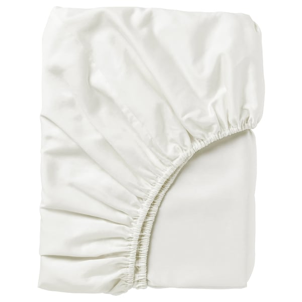 NATTJASMIN Drap housse, blanc, 140x200 cm