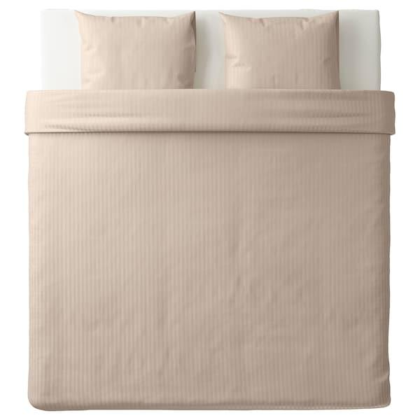 NATTJASMIN Housse de couette et 2 taies, beige clair, 240x220/65x65 cm