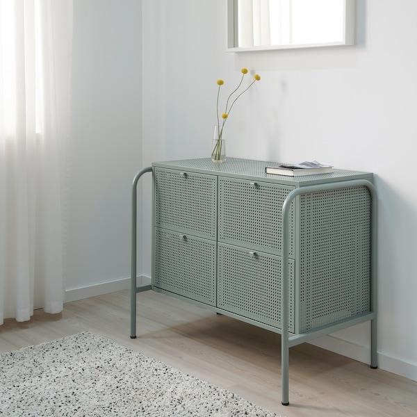 NIKKEBY Commode 4 tiroirs, gris vert, 84x70 cm