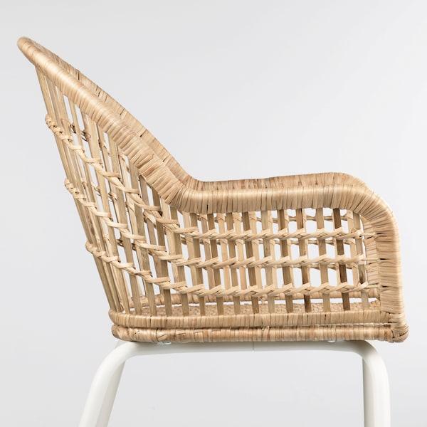 NILSOVE Chaise à accoudoirs, rotin, blanc IKEA
