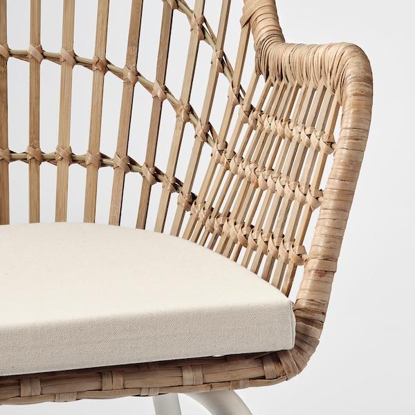 NILSOVE / NORNA Chaise+coussin, rotin blanc/Laila naturel