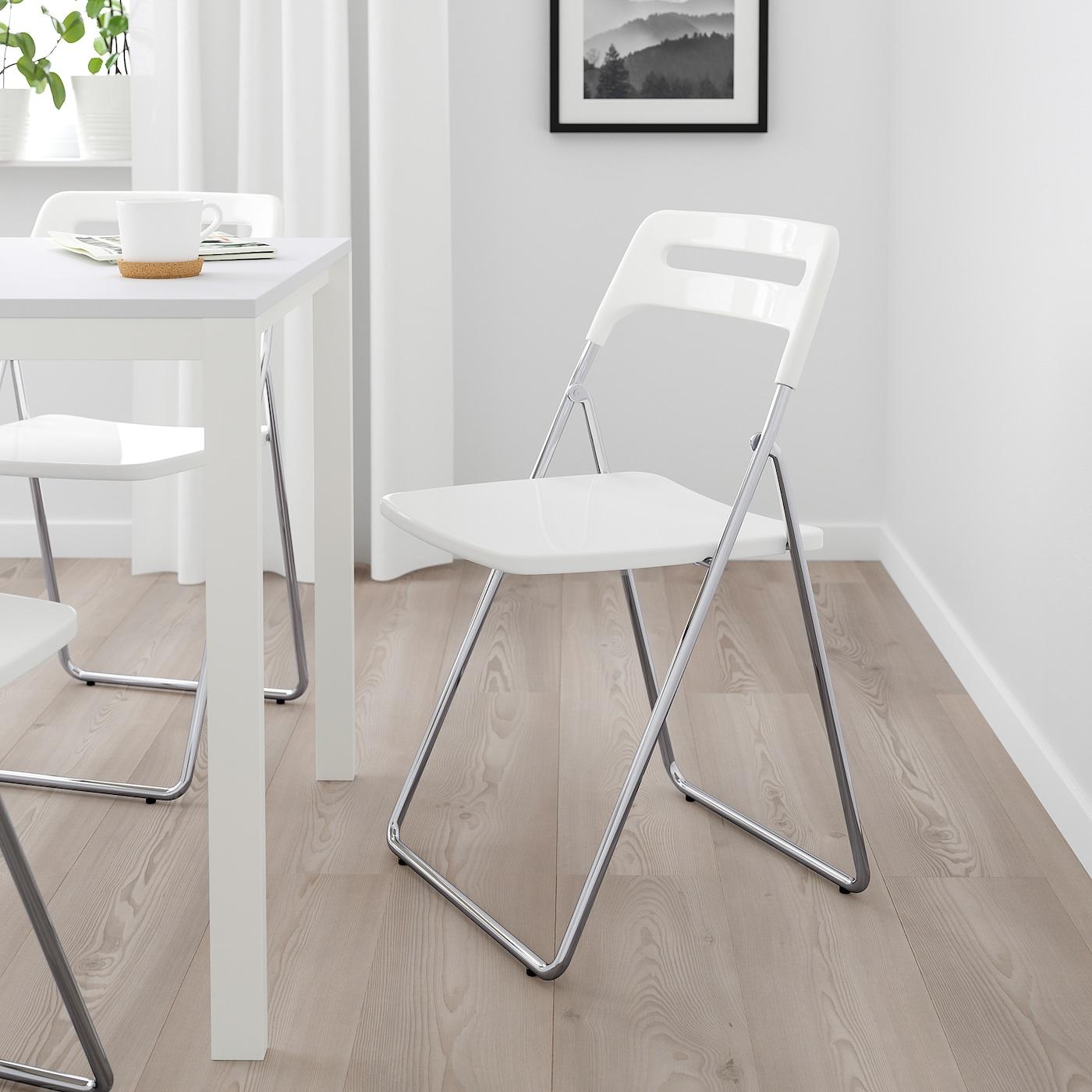 NISSE Chaise pliante brillant blancchromé
