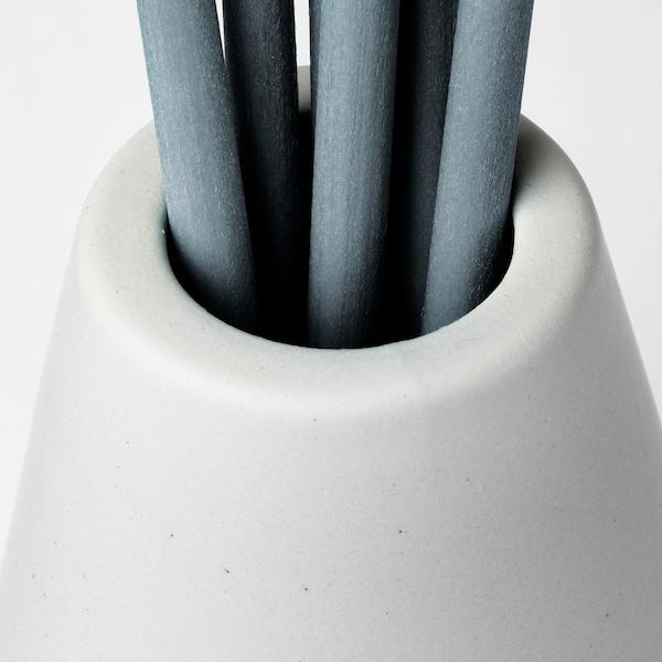 NJUTNING Vase et 6 bâtonnets diffuseurs, bergamotier en fleurs/gris