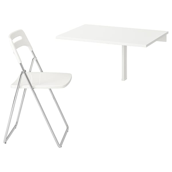 NORBERG NISSE Table et 1 chaise, blanc, chromé blanc IKEA