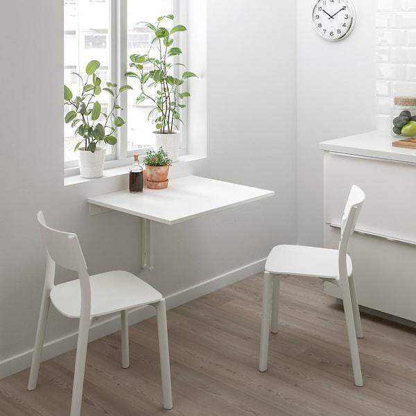 NORBERG Table murale à rabat, blanc, 74x60 cm