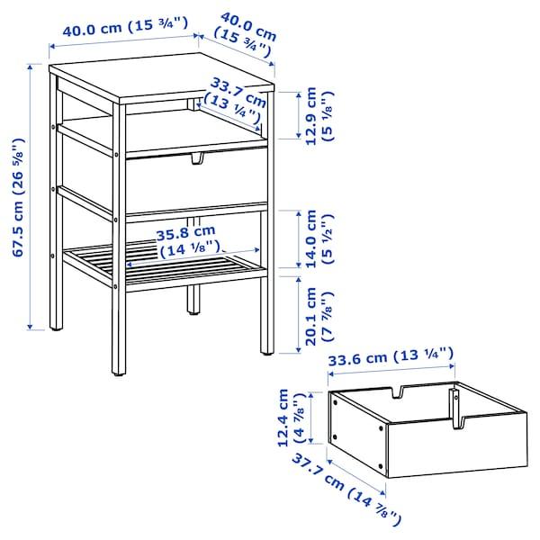 NORDKISA Table de chevet, bambou, 40x40 cm