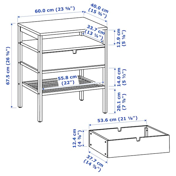 NORDKISA Table de chevet, bambou, 60x40 cm