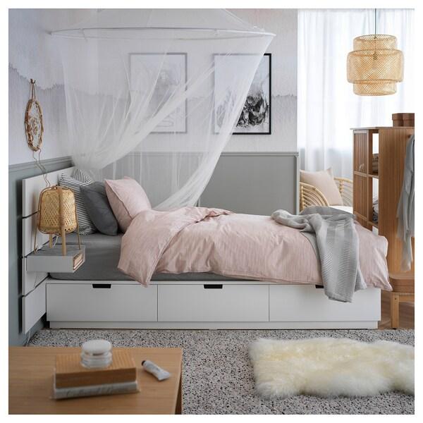 Nordli Cadre De Lit Rangement Tete De Lit Blanc 90x200 Cm Ikea