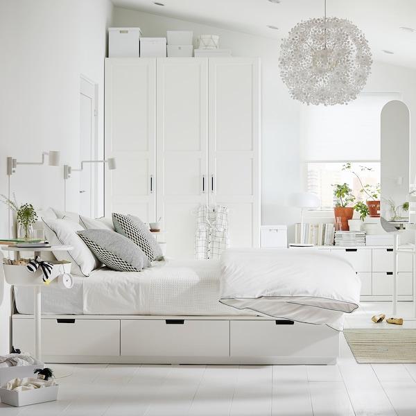 NORDLI Cadre lit avec rangement, blanc, 160x200 cm