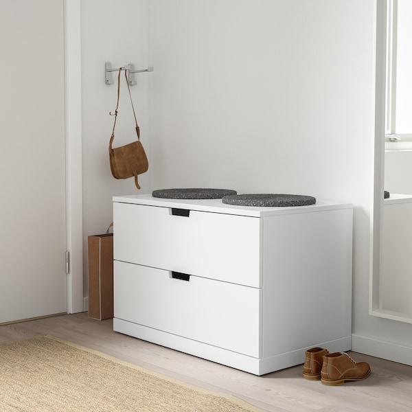 NORDLI Commode 2 tiroirs, blanc, 80x54 cm